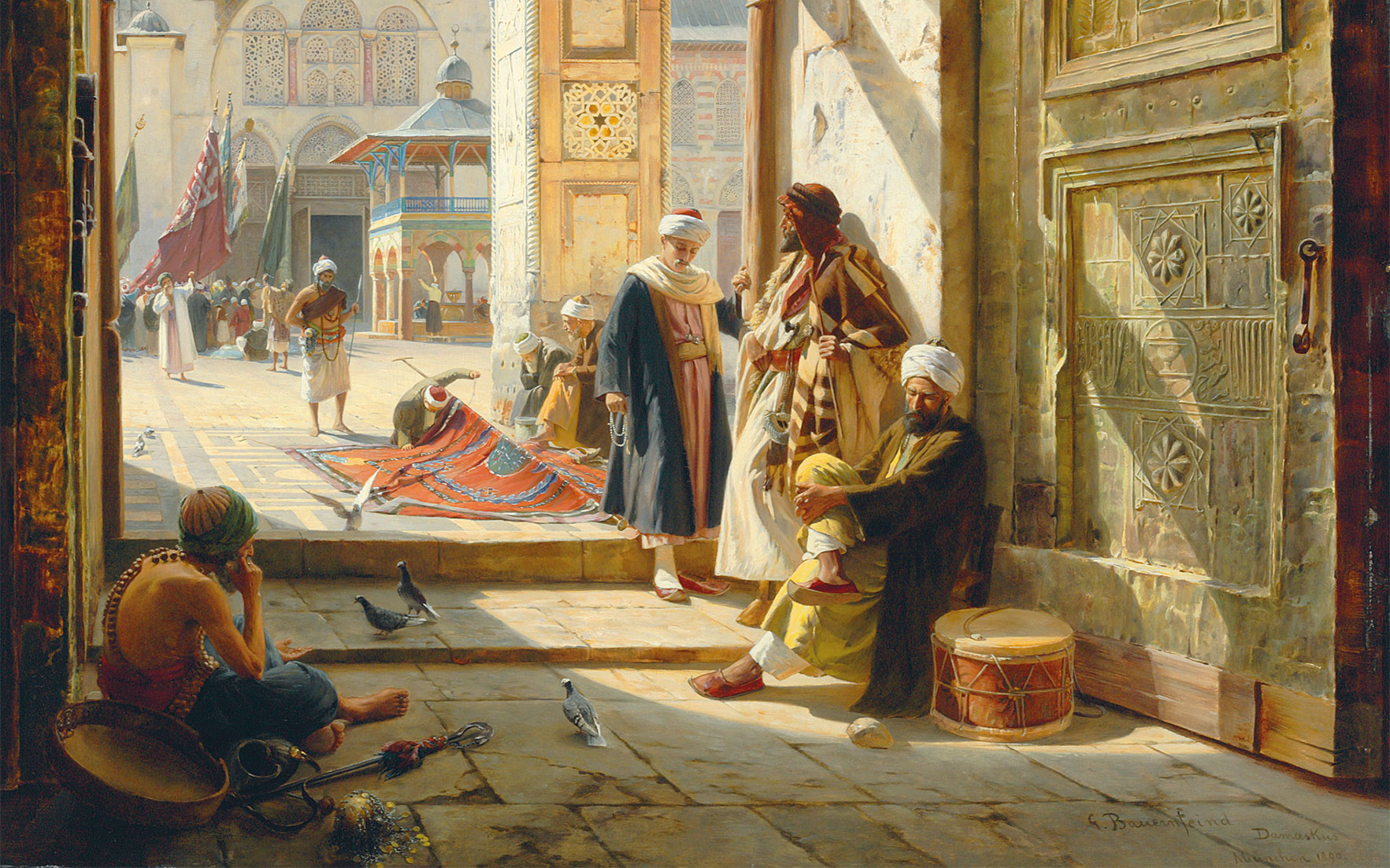 Gustav Bauernfeind (German, 1848-1904), detail from The Gate of the Great Umayyad Mosque, Damascus, 1890. Oil on panel. 47⅝ x 38 in (121 x 96.5 cm). Sold for £2,505,250 on 2 July 2008 at