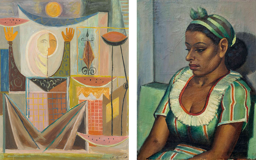 (Left) Jewad Selim (Iraqi, 1919-1961), The Watermelon Seller, painted in 1953. 34½ x 29½ in (87 x 75  cm). Estimate £200,000-250,000. (Right) Mahmoud Saïd (Egyptian,