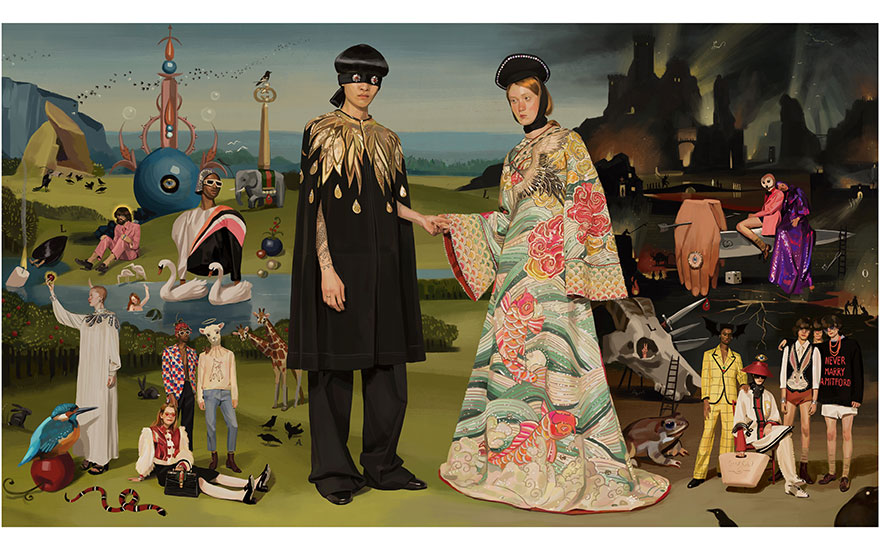 Gucci's SpringSummer 2018 campaign inspired by The Garden of Earthly Delights by Hieronymus Bosch and The Arnolfini Marriage by Jan van Eyck. Artwork by Ignasi Monreal