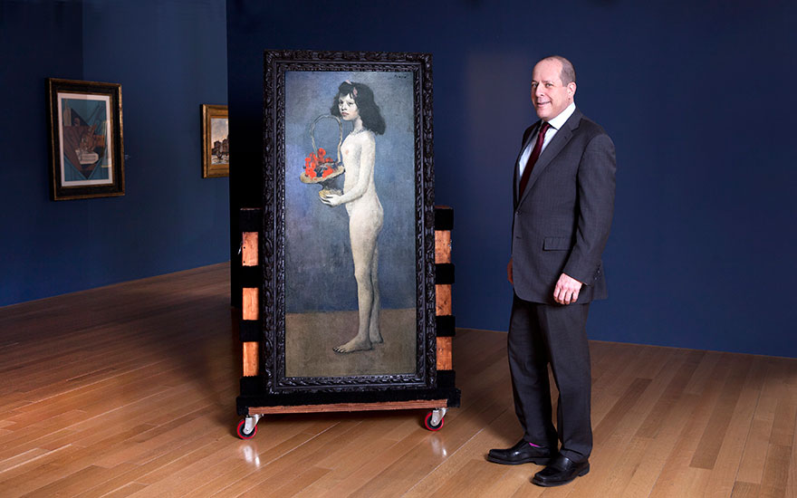 Marc Porter, Chairman of Christies America, with Pablo Picasso (1881-1973), Fillette à la corbeille fleurie, 1905. Oil on canvas. 60⅞ x 26 in (154.8 x 66.1 cm). Estimate on request. Offered in