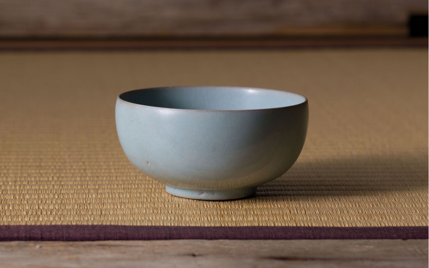 An important and extremely rare Ru 'sky-blue' tea bowl. Northern Song dynasty, late 11th-early 12th century. 4 in (10.2 cm) diameter. Estimate on request. Offered in Important Chinese