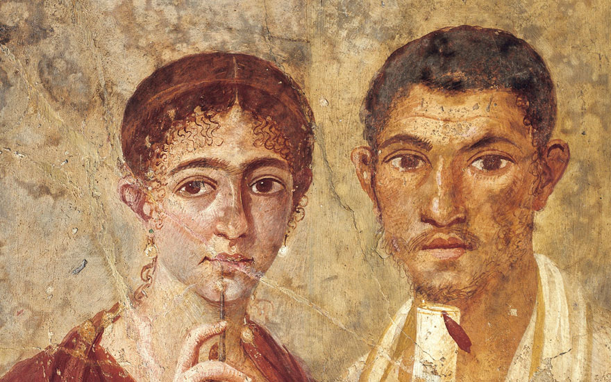Portrait of baker Terentius Neo and his wife in formal clothes from Italy, Campania, Pompeii, 55-79 AD, painting on plaster. Photo De Agostini Picture Library  Bridgeman Images