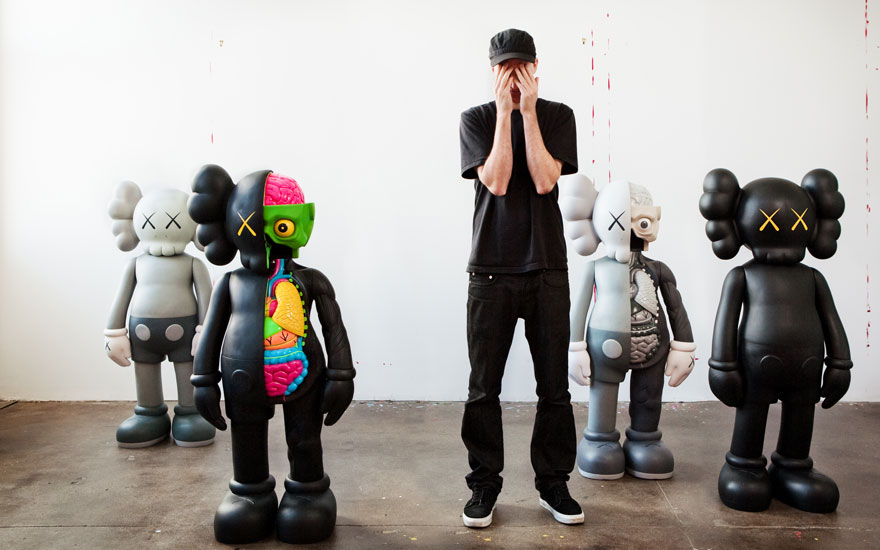 KAWS (USA, b. 1974), with a selection from his COMPANION series. Artworks © KAWS. Photo © Hye-Ryoung Min