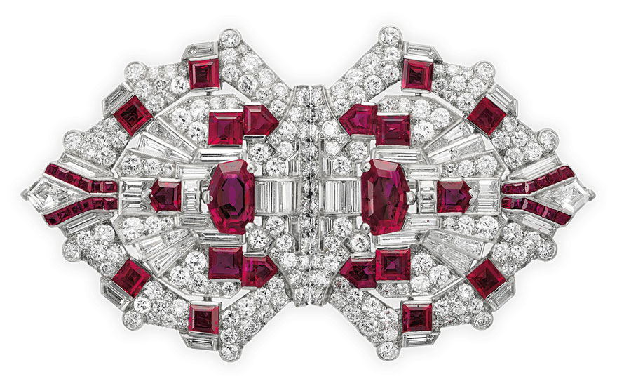 An Art Deco ruby and diamond double clip-brooch by Raymond Yard. Sold for $106,250 on 16 April 2019 at Christie's in New York