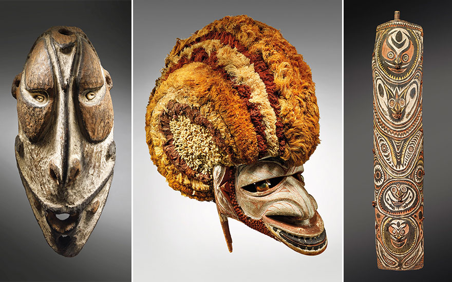 From left The Bondy Epstein Mask, Papua New Guinea. Height 27  cm (10⅝  in). Estimate €80,000-120,000. A Tatanua Mask, Papua New Guinea. Height 39  cm (15⅜  in). Estimate