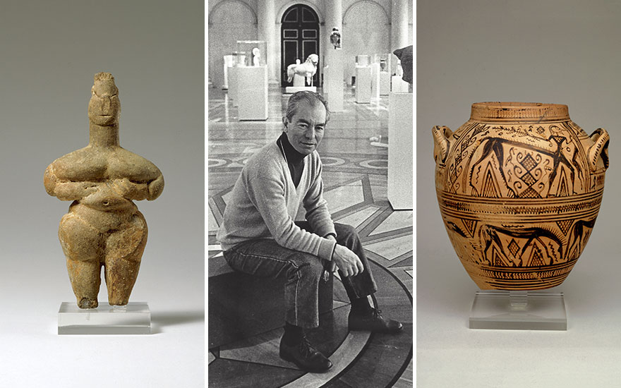 From left a Thessalian terracotta steatopygous idol, 6th millennium BC, 13.7 cm high, from the Ortiz Collection; George Ortiz at the 1993 exhibition of his ancient artworks in the Hermitage Museum, St