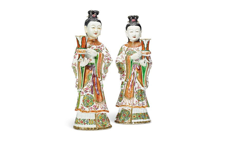 A large pair of famille rose court lady candleholders, Qianlong period (1736-95). 16 in (40.6 cm) high. Estimate $30,000-50,000. Offered in Chinese Export Art featuring the Tibor Collection, Part II