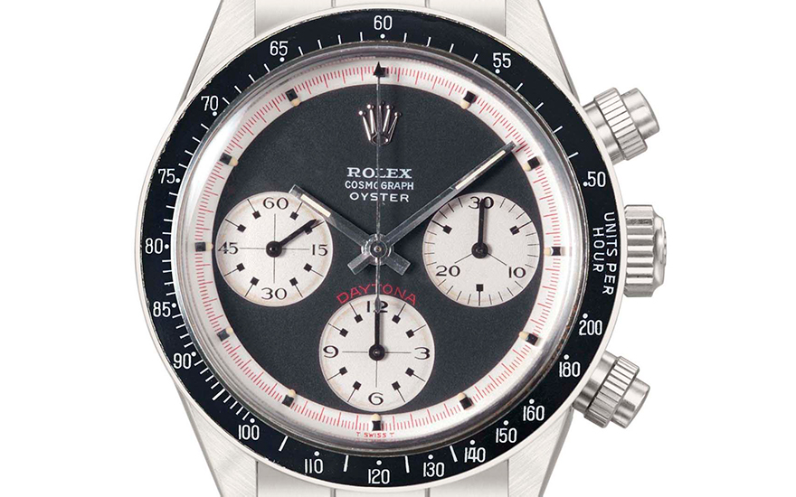 Rolex. An extremely rare and important stainless-steel chronograph wristwatch with bracelet, original guarantee and box. Signed Rolex, cosmograph, oyster, Daytona, Ref. 62636239, Paul Newman model,