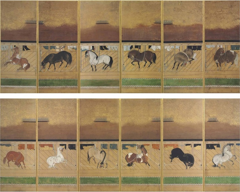 Anonymous (17th century), Stable with fine horses. Twelve paintings mounted as a pair of six-panel screens. Ink, colour and gold flecks on paper 52 x 19 ¾ in (132.1 x 5.2 cm.) each approx. Sold for $75,000 on 15 April 2016 at Christie's New York