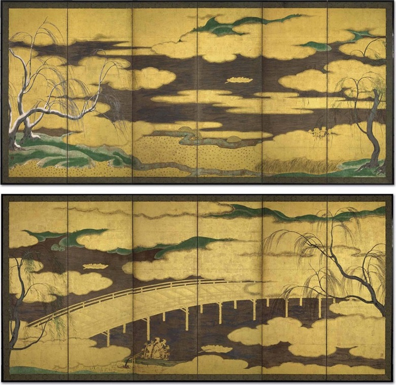 Attributed to Hasegawa Tohaku (1539-1610), Willows and Uji River. Pair of six-panel screens. Ink, colour, gold, silver and gold leaf on paper. 62¾ x 139½ in (159.4 x 354.3 cm) each. Sold for $605,000 on 22 April 2015 at Christie's New York