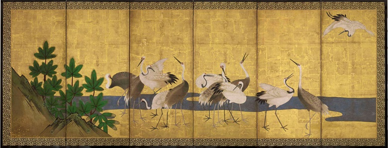 Anonymous, Edo Period (18th century), Cranes and Pine. Six-fold screen. Sold for £12,500 online, 14-28 July 2015