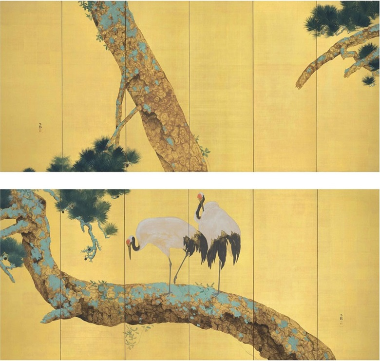 Yokoyama Taikan (1868-1958), Pine Trees and Cranes. Pair of six-panel screens. Ink, colour, gold and gold leaf on paper. 67 x 151⅛ in (170.2 x 383.9 cm.) each (2). Sold for $267,750 on 20 March 2013 at Christie's New York