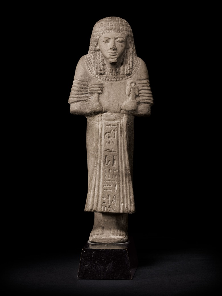 An Egyptian limestone overseer shabti for the High Priest of Amun, Mery-Sekhmet. Late 19th-early 20th Dynasty, circa 1200-1100 B.C. 8 38 in. (22 cm.) high. Estimate $70,000-90,000. This lot is offered in the Antiquities sale on 12 April at Christie's New York