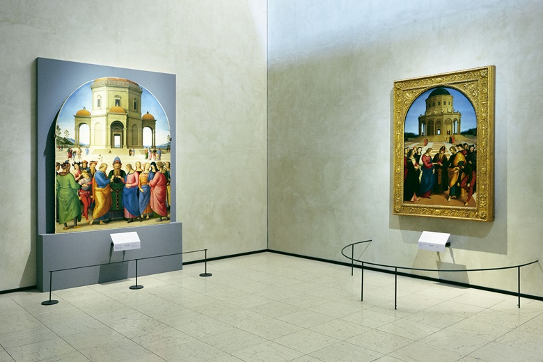 One of the museum's masterpieces, Raphael's Marriage of the Virgin (right), hanging next to Perugino's version, on loan from France. Photograph by Alberto Zanetti