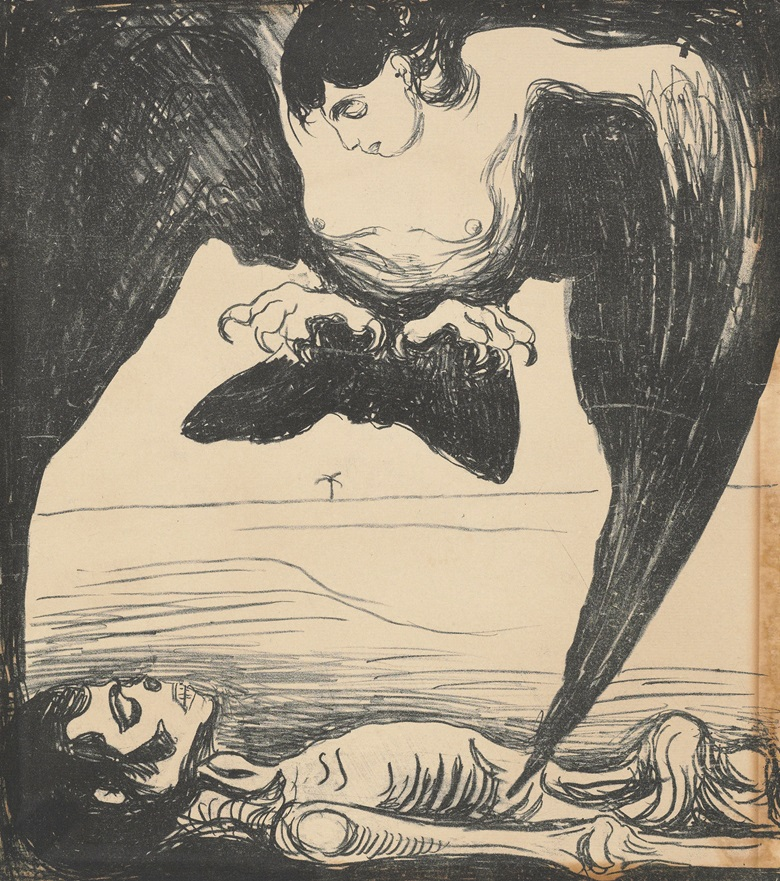 Edvard Munch (1863-1944), Harpy, 1899. Sheet 355 x 314 mm. Estimate $6,000-8,000. This lot is offered in Death and Desire - The Collection of Giancarlo Beltrame, 25 October - 3 November 2016, Onlinee