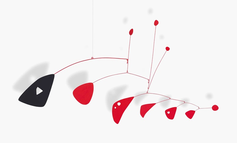 Alexander Calder (1898-1976), Rouge et Noir, 1955. Hanging mobile — sheet metal, wire and paint. 33⅞ x 64¾ x 7⅞ in (86 x 164.5 x 20 cm). Sold for $3,021,000 on 10 May 2016