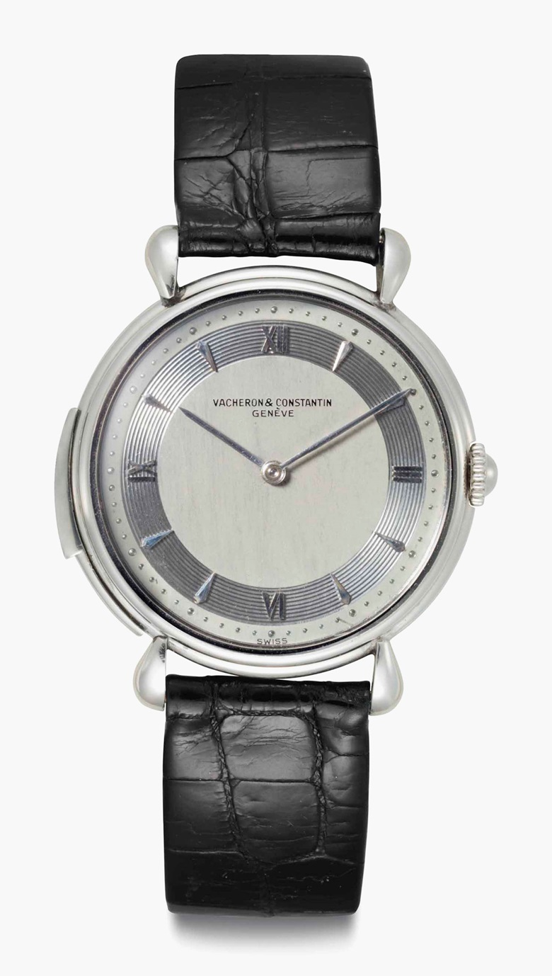 Vacheron Constantin. An extremely fine and rare platinum minute repeating wristwatch with silvered vertical satined dial. Signed Vacheron Constantin, Genève, Ref. 4261, Movement No. 451906, Case No. 318000, Manufactured in 1951. Sold for $605,000 on 7 June 2016