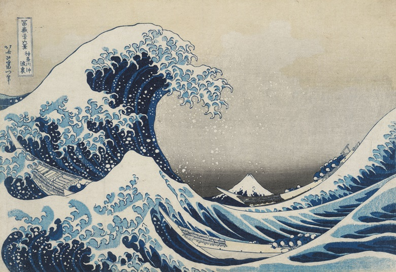 Katsushika Hokusai (1760-1849), Under the Wave off Kanagawa (The Great Wave) from 36 Views of Mount Fuji, 1831. Colour woodblock. Acquisition supported by the Art Fund. © The Trustees of the British Museum. On display from 25 May–13 August