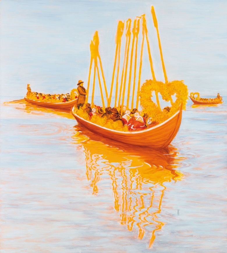 Sigrid Holmwood (b. 1978), The Church Boats, 2007. Oil, fuorescent egg tempera, lead, iron oxide and resin on board. 53⅞ x 48 in (136.8 x 121.8 cm). Estimate £4,000-6,000. This work is offered in Handpicked 100 Works Selected by the Saatchi Gallery on 10 March at Christie's South Kensington