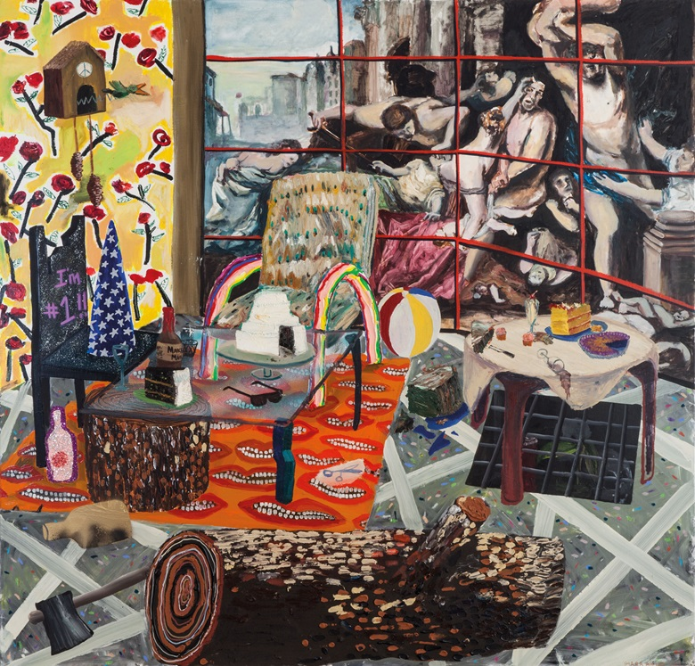 Shara Hughes (b. 1981), La La Land, 2009. Oil, glitter, wood shavings, acrylic, spray paint on canvas. 55⅞ x 54 in (142 x 137 cm). Estimate $5,000-7,000. This work will be offered in Handpicked 100 Works Selected by the Saatchi Gallery on 22 March at Christie's in New York
