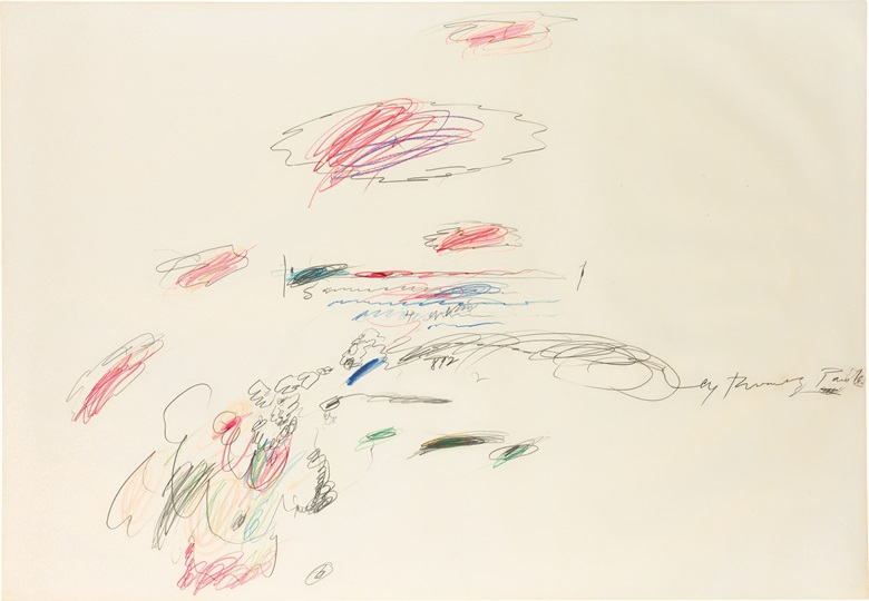 Cy Twombly (1928-2011), Untitled, 1963. Wax crayon and graphite on paper, 29½ x 42½ in (74.9 x 108 cm). Estimate $250,000-350,000. This lot is offered in The Collection of Earl and Camilla McGrath on 3 March 2017 at Christie's in New York, Rockefeller Center