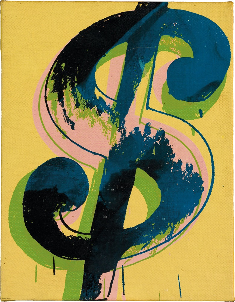Andy Warhol (1928-1987), Dollar Sign, 1981. Silkscreen inks on canvas, 10¼ x 8 in (26 x 20.3 cm). Estimate $250,000-350,000. This lot is offered in The Collection of Earl and Camilla McGrath on 3 March 2017 at Christie's in New York, Rockefeller Center