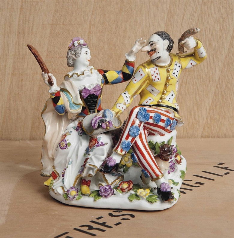 A Meissen group of Harlequin and Columbine, circa 1740. Sold for £146,500 on 2-3 June 2015