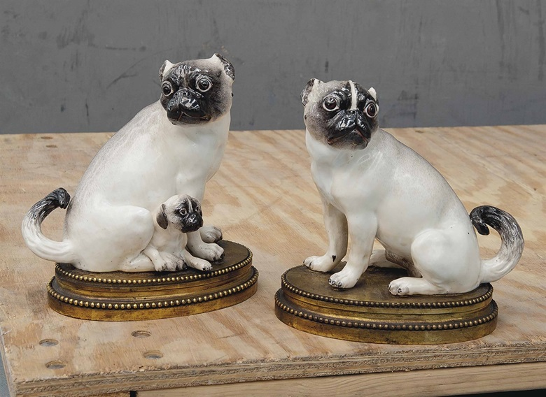 A pair of Meissen gilt-bronze-mounted models of pug dogs. Circa 1745, the mounts 19th century. 8⅜ in (21.2 cm) high. Sold for £50,000 on 2-3 June 2015