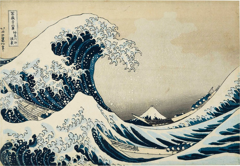 Katsushika Hokusai (1760-1849), Kanagawa oki nami ura (In the well of the great wave off Kanagawa), from the series Fugaku sanjurokkei (36 Views of Mount Fuji). 25.3 x 37 cm. Estimate $80,000-100,000. This lot is offered in An Inquiring Mind American Collecting of Japanese & Korean Art on 25 April 2017, at Christie's in New York