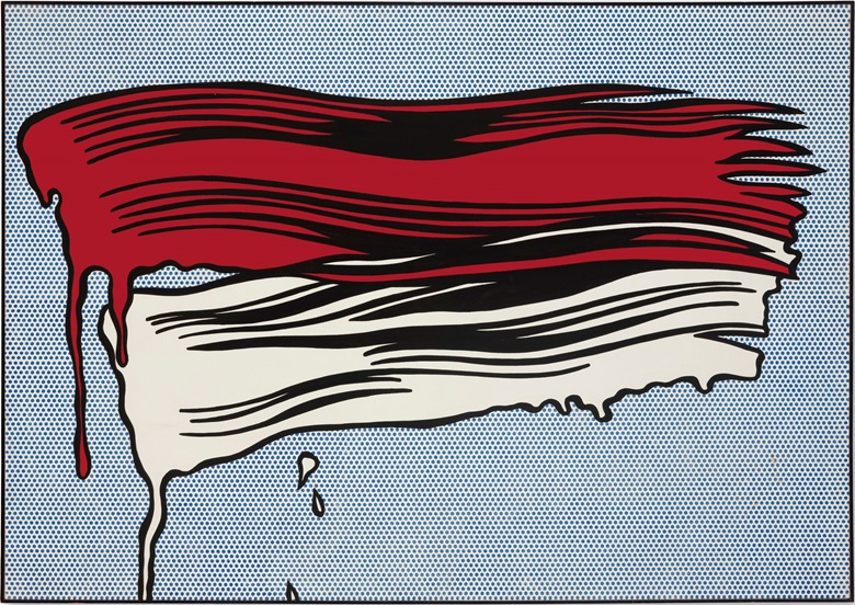 Roy Lichtenstein (1923–1997), Red and White Brushstrokes, 1965. Oil and Magna on canvas. 48 × 68 in (121.9 × 172.7 cm). Sold for $28,247,500 in the Post-War and Contemporary Art Evening Sale on 17 May at Christies in New York. © Estate of Roy LichtensteinDACS 2017.
