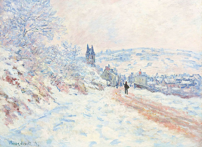 Claude Monet (1840-1926), La route de Vétheuil, effet de neige, 1879. Oil on canvas. 24⅛ x 32⅛ in (61.1 x 81.1 cm). Sold for $11,447,500 in the Impressionist & Modern Art Evening Sale on 15 May 2017 at Christie's in New York