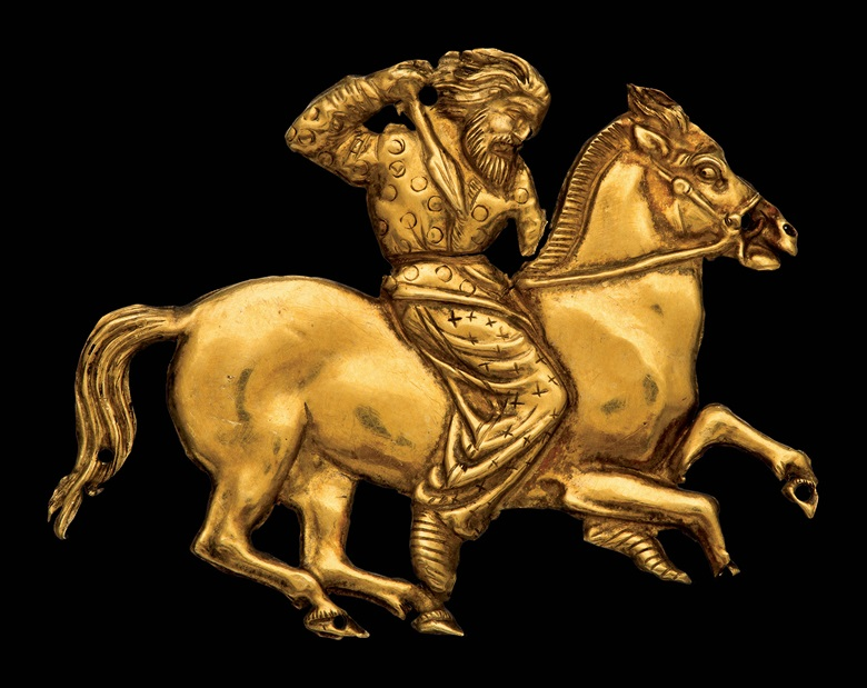 A plaque depicting a Scythian rider with a spear in his right hand. Gold. Second half of the 4th century BC, Kul' Oba © The State Hermitage Museum, St Petersburg, 2017. Photo V Terebenin