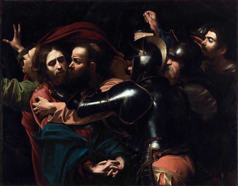 Michelangelo Merisi da Caravaggio (1571–1610),The Taking of Christ, 1602. Oil on canvas. 133.5 x 169.5 cm. On indefinite loan to the National Gallery of Ireland from the Jesuit Community, Leeson St., Dublin who acknowledge the kind generosity of the late Dr Marie Lea-Wilson. Photo © The National Gallery of Ireland, Dublin.