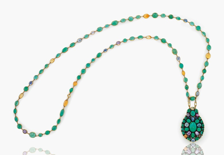 A cabochon emerald, sapphire, coloured sapphire and fire opal pendant necklace by Louis Comfort Tiffany, Tiffany & Co. Estimate $25,000-35,000. This lot is offered in Magnificent Jewels & the Rockefeller Emerald on 20 June 2017, at Christie's in New York