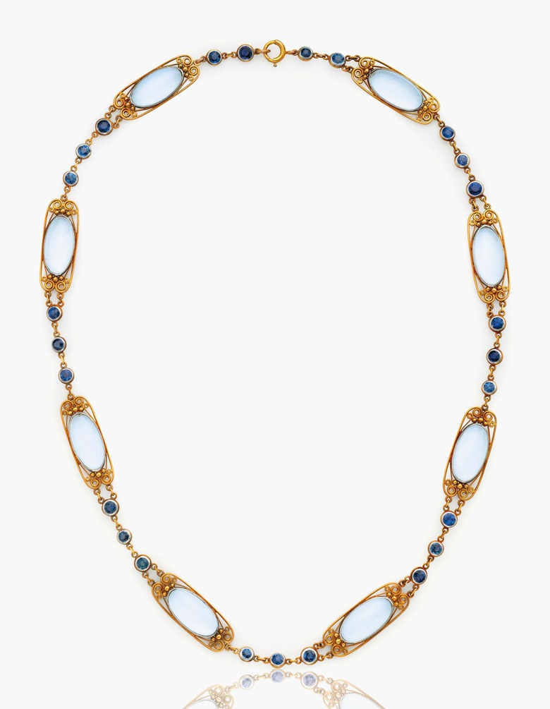 A moonstone and sapphire necklace, by Louis Comfort Tiffany, Tiffany & Co. Estimate $20,000-30,000. This lot is offered in Magnificent Jewels & the Rockefeller Emerald on 20 June 2017, at Christie's in New York