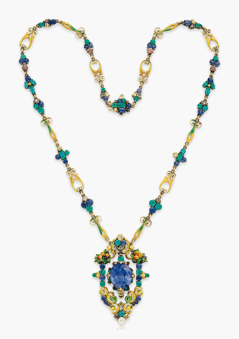 A multi-gem pendant necklace by Louis Comfort Tiffany, Tiffany & Co. Estimate $50,000-70,000. This lot is offered in Magnificent Jewels & the Rockefeller Emerald on 20 June 2017, at Christie's in New York