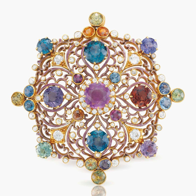 An antique Renaissance Revival multi-coloured sapphire and diamond pendant brooch, by Paulding Farnham, Tiffany & Co. Estimate $20,000-30,000. This lot is offered in Magnificent Jewels & the Rockefeller Emerald on 20 June 2017, at Christie's in New York