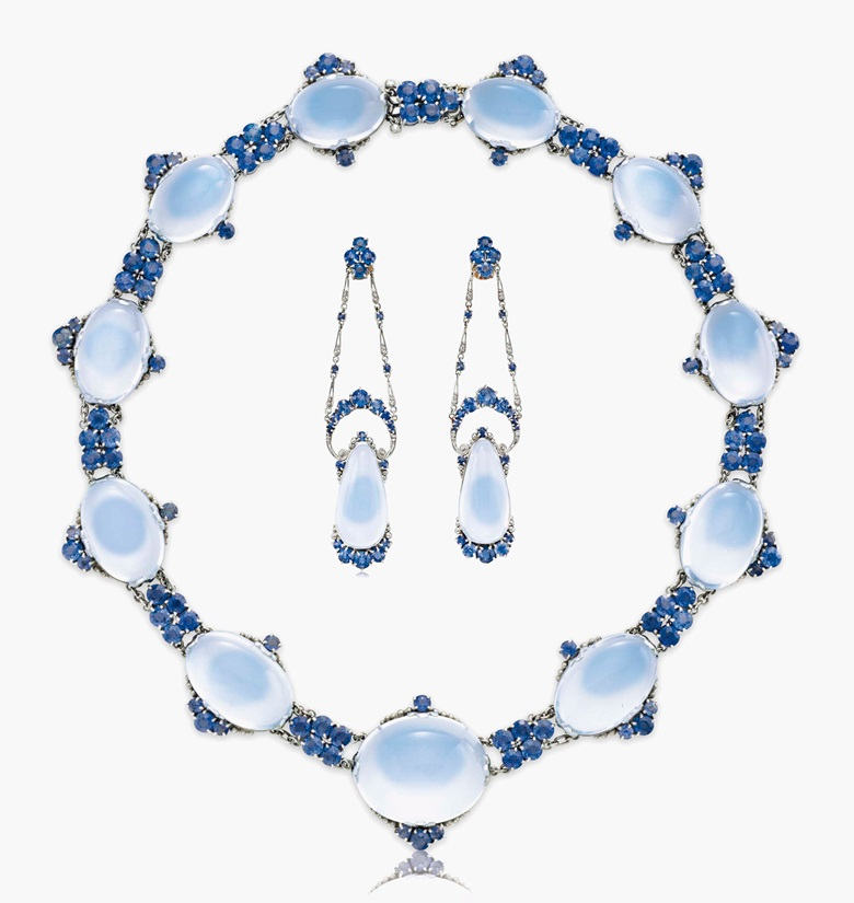 An impressive set of moonstone and sapphire jewellery by Louis Comfort Tiffany, Tiffany & Co. Estimate $60,000-80,000. This lot is offered in Magnificent Jewels & the Rockefeller Emerald on 20 June 2017, at Christie's in New York