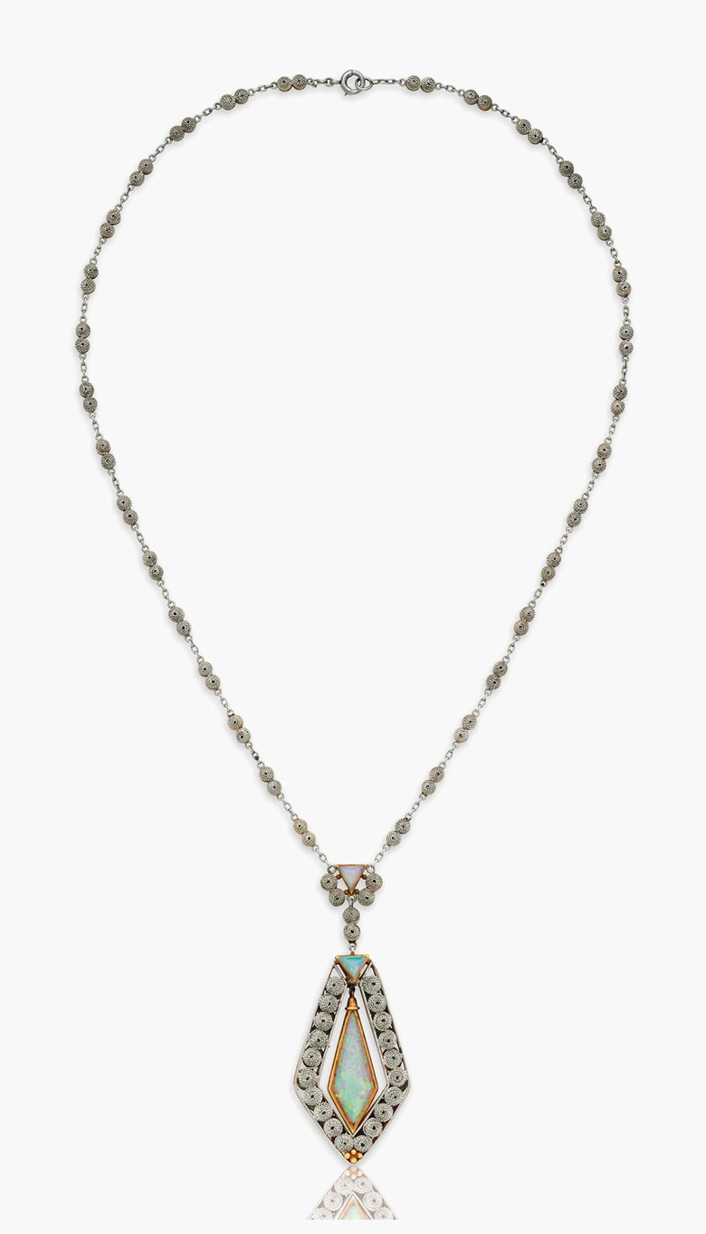 An opal and enamel pendant necklace, by Louis Comfort Tiffany, Tiffany & Co. Estimate $10,000-15,000. This lot is offered in Magnificent Jewels & the Rockefeller Emerald on 20 June 2017, at Christie's in New York