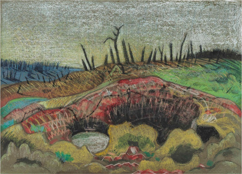 Paul Nash (1889-1946), A Farm, Wytschaete, 1917. Ink, chalk, charcoal and watercolour on buff paper, 10 x 14 in (25.4 x 35.6 cm). Estimate £250,000-350,000. This lot is offered in Modern British & Irish Art Evening Sale on 26 June at Christie's London