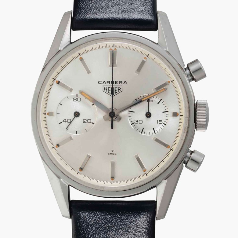 Heuer. A fine stainless-steel chronograph wristwatch. Signed Heuer, Carrera, Ref. 3647S, No. 61844, circa 1965. This lot was offered in Rare Watches and American Icons on 21 June 2017 at Christie's in New York and sold for $21,250