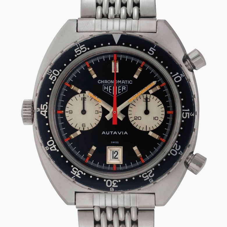 Heuer. A very fine and rare stainless-steel automatic chronograph wristwatch with date and bracelet. Signed Heuer, Autavia, Chronomatic Model, Ref. 1163MH, Case No. 141206, circa 1970. This lot was offered in Rare Watches and American Icons on 21 June 2017 at Christie's in New York and sold for $77,500