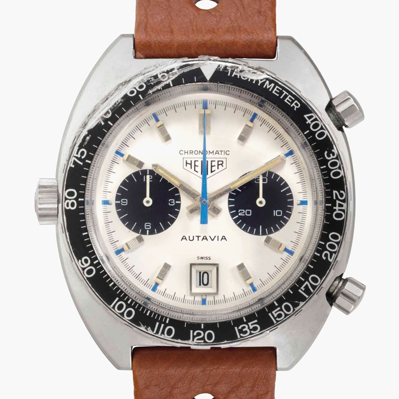 Heuer. An extremely rare stainless-steel automatic chronograph wristwatch with date and 'Jo Siffert' dial. Signed Heuer, Autavia, Chronomatic Model, Ref. 1163T, Case No. 141'373, circa 1969. This lot was offered in Rare Watches and American Icons on 21 June 2017 at Christie's in New York and sold for $87,500