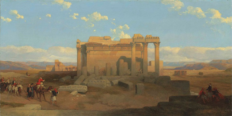 David Roberts (Scottish, 1796-1864), The Ruins of the Smaller Temple at Baalbec. Oil on canvas, 24 x 48 in (61 x 121.9 cm). Sold for £221,000 in 19th Century European & Orientalist Art on 13 July 2017 at Christie's in London