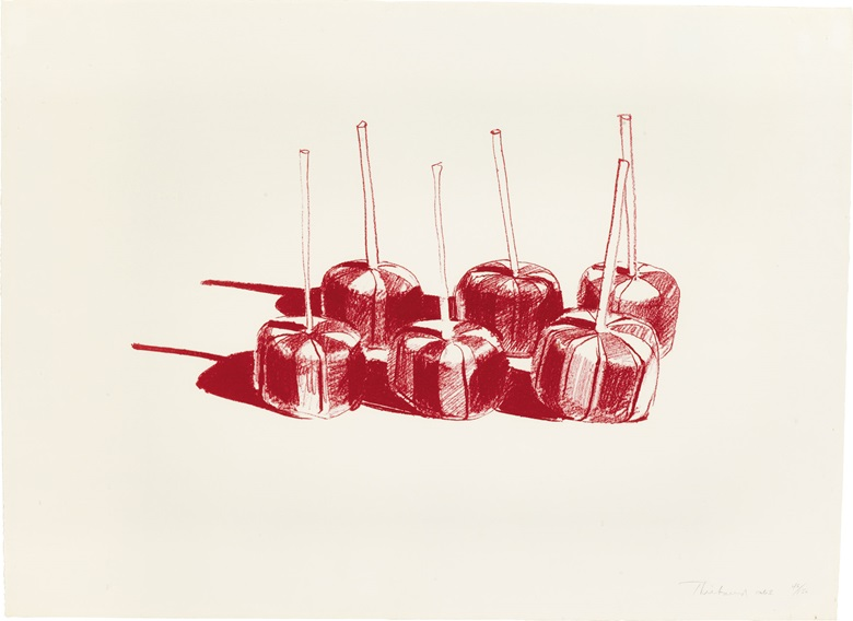 Wayne Thiebaud (b. 1920), Suckers State II, 1968. Image 8½ x 14 in (216 x 356 mm); sheet 16 x 21⅞ in (406 x 556 mm). This lot was offered in Contemporary Editions, 11-19 July 2017 Online, and sold for $9,375