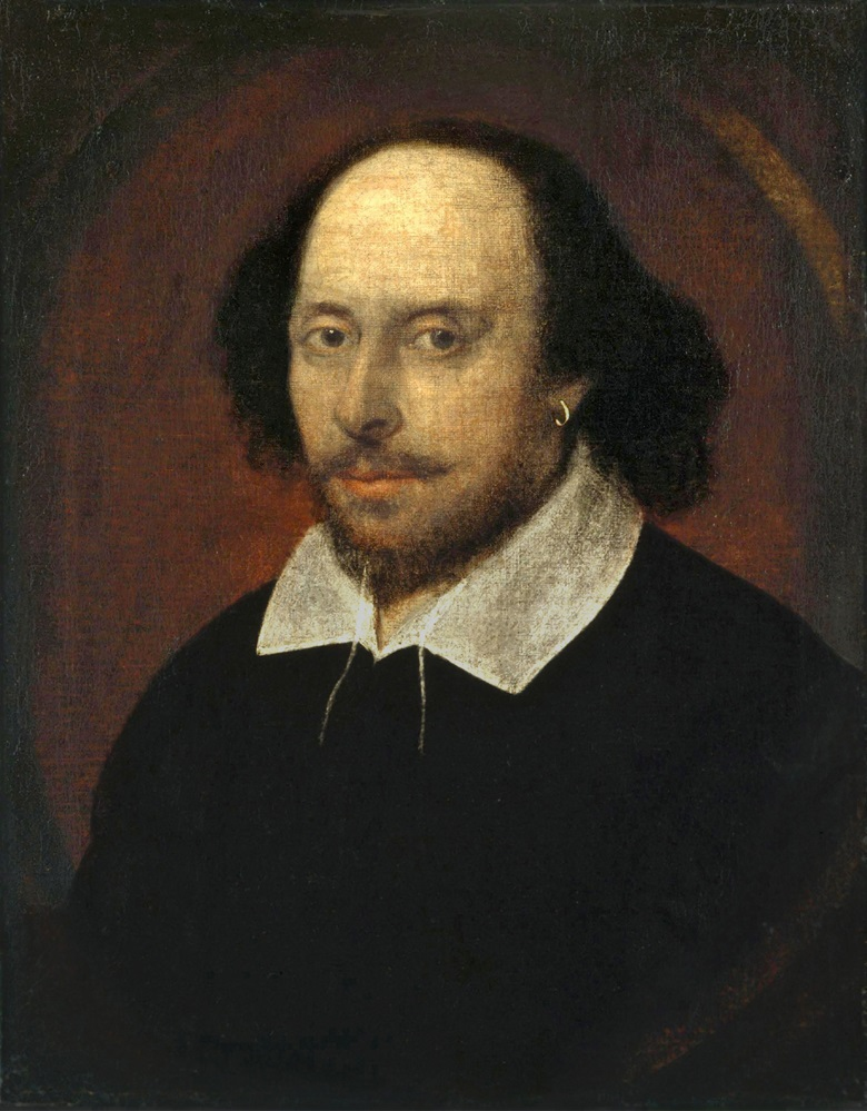 The Chandos Portrait, possibly William Shakespeare, c. 1600-1610. Oil on canvas. 55 x 44 cm (22 x 17 in). Sold for £372 15s between 15 August and 17 October 1848 at Stowe House, Buckinghamshire. © National Portrait Gallery, London, UKBridgeman Images