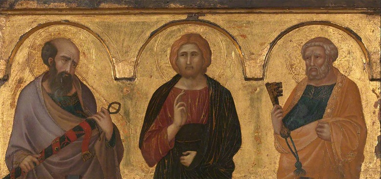 Pietro Lorenzetti (active c. 1306-1345), Christ between Saints Peter and Paul, c. 1320. Tempera and gold on gold-ground panel. 32 x 70.5 cm (13 x 28 in). Sold for £5,081,250 on 3 July 2012 at Christie's in London (negotiated sale). © Christie's Images
