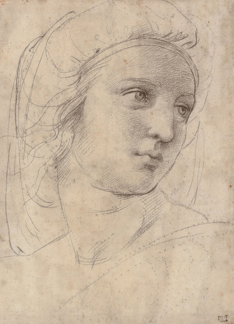 Raffaello Sanzio, called Raphael (1483-1520), Head of a Muse, c. 1510. Black chalk over pounce marks, traces of stylus. 30.5 x 22 cm (12 x 8½ in). Sold for £29,161,250 on 8 December 2009 at Christie's in London. © Christie's Images