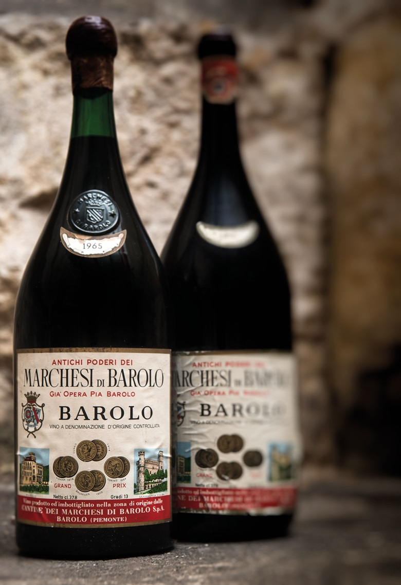 Marchesi di Barolo, Barolo, 1965, 2 x 3.78cl bottles per lot. This lot was offered in Fine and Rare Wines including a Superb Selection from the Cellars of the Earl of Halifax  on 21 September 2017  at Christie's in London and sold for £1,020