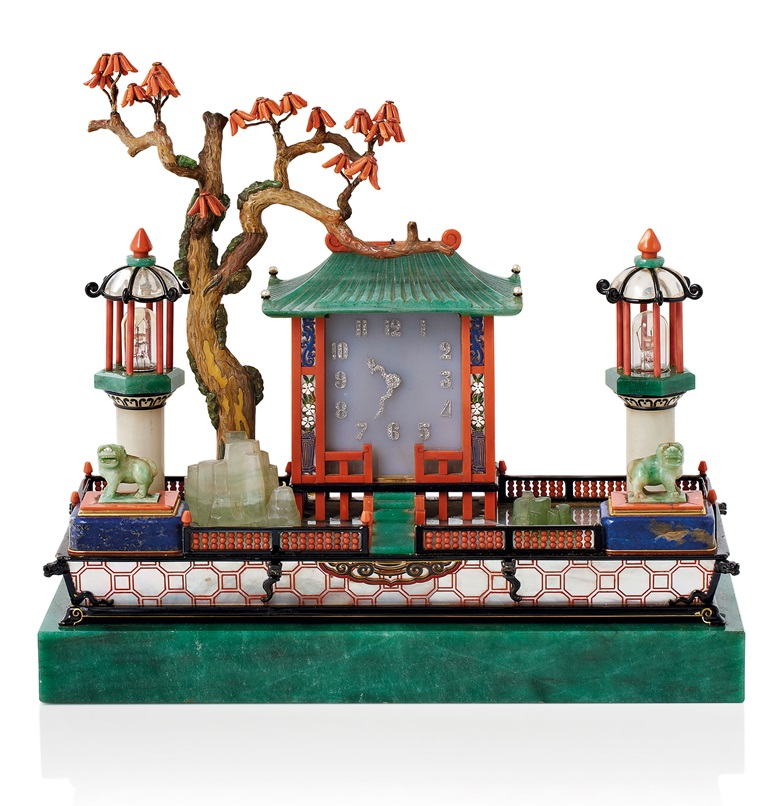 An Art Deco 'Jardin Japonais' desk set by Cartier, circa 1926. Sold for €1,118,500 on 7 March 2017  at Christie's in Paris